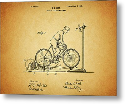 1900 Bicycle Exercise Stand Metal Print
