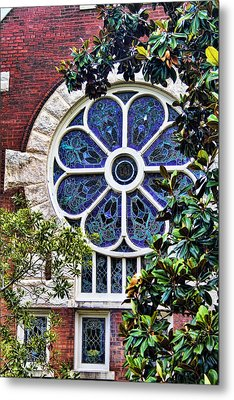 1901 Antique Uab Gothic Stained Glass Window Metal Print by Kathy Clark