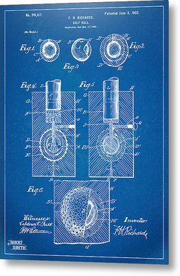 1902 Golf Ball Patent Artwork - Blueprint Metal Print