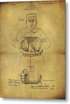 1905 Baseball Glove Patent Metal Print by Dan Sproul