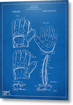 1910 Baseball Glove Patent Artwork Blueprint Metal Print by Nikki Marie Smith