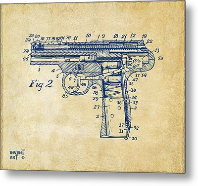 1911 Automatic Firearm Patent Minimal - Vintage Metal Print by Nikki Marie Smith