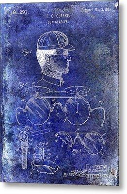 1916 Sunglasses Patent Blue Metal Print