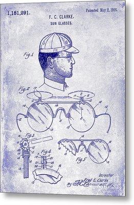 1916 Sunglasses Patent Blueprint Metal Print
