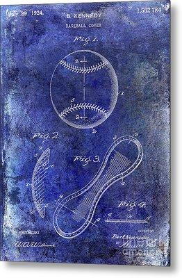 1924 Baseball Patent Blue Metal Print