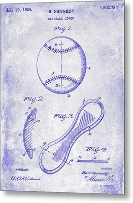 1924 Baseball Patent Blueprint  Metal Print