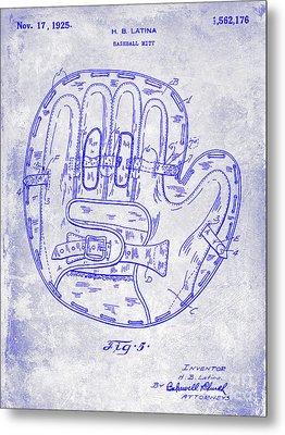 1925 Baseball Glove Patent Blueprint Metal Print
