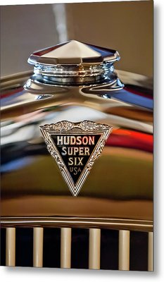 1929 Hudson Cabriolet Hood Ornament Metal Print by Jill Reger