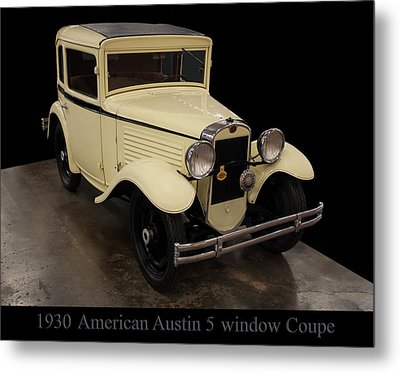 Metal Print featuring the digital art 1930 American Austin 5 Window Coupe by Chris Flees
