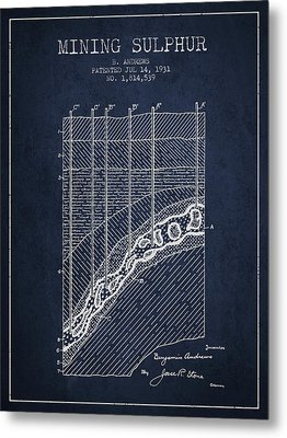 1931 Mining Sulphur Patent En38_nb Metal Print