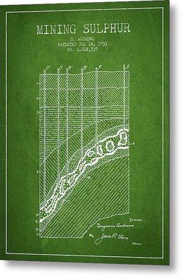 1931 Mining Sulphur Patent En38_pg Metal Print