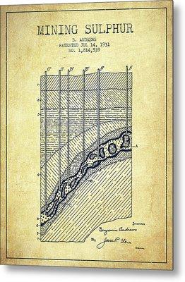 1931 Mining Sulphur Patent En38_vn Metal Print