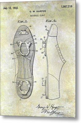1932 Baseball Cleat Patent Blueprint Metal Print