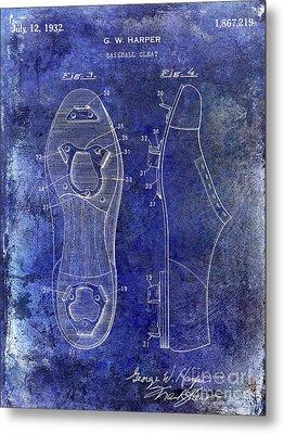 1932 Baseball Cleats Patent Blue Metal Print