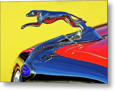 1934 Ford Hood Ornament Metal Print by Jill Reger