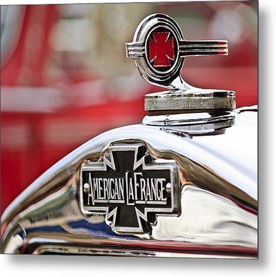 1936 American Lafrance Fire Truck Hood Ornament Metal Print by Jill Reger