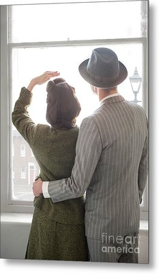 Metal Print featuring the photograph 1940s Couple At The Window by Lee Avison