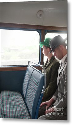 Metal Print featuring the photograph 1940s Couple Sitting On A Vintage Bus by Lee Avison