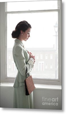Metal Print featuring the photograph 1940s Woman At The Window by Lee Avison