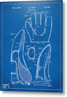 1941 Baseball Glove Patent - Blueprint Metal Print by Nikki Marie Smith