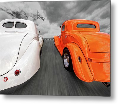 1941 Willys Vs 1934 Ford Coupe Metal Print
