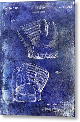 1945 Baseball Glove Patent Blue Metal Print