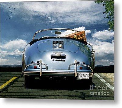 1955 Porsche, 356a, 1600 Speedster, Aquamarin Blue Metallic, Louis Vuitton Classic Steamer Trunk Metal Print by Thomas Pollart