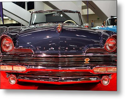 1956 Lincoln Premiere Convertible . Blue . 7d9245 Metal Print by Wingsdomain Art and Photography