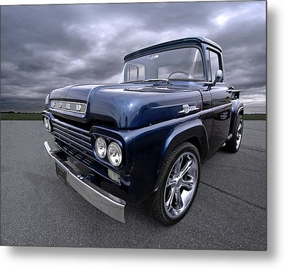 1959 Ford F100 Dark Blue Pickup Metal Print