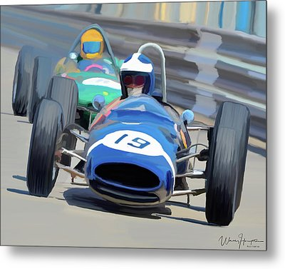 1963 Cooper T66 Coming Out Of Monaco's Mirabeau Metal Print by Wally Hampton