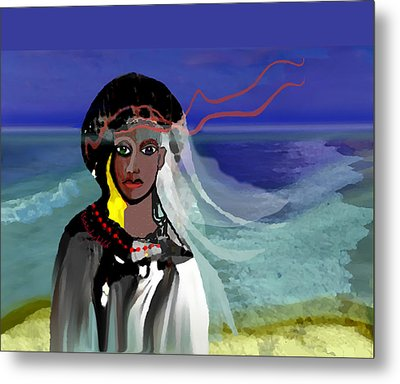 Metal Print featuring the digital art 1965 - Walk On The Oceanside by Irmgard Schoendorf Welch