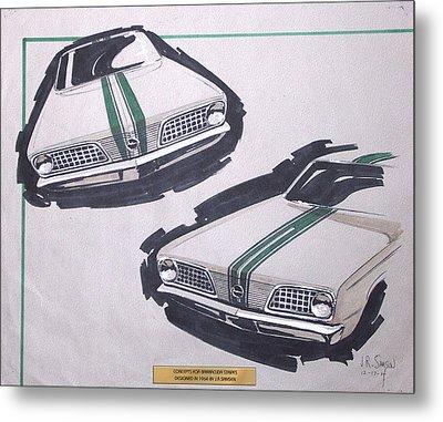 1966 Barracuda  Plymouth Vintage Styling Design Concept Rendering Sketch Metal Print by John Samsen