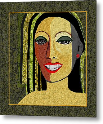 Metal Print featuring the digital art 1966 - Lady With Beautiful Teeth by Irmgard Schoendorf Welch