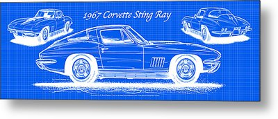Metal Print featuring the drawing 1967 Corvette Sting Ray Coupe Reversed Blueprint by K Scott Teeters