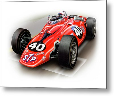 1967 Stp Turbine Indy 500 Car Metal Print by David Kyte