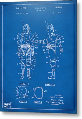 1968 Hard Space Suit Patent Artwork - Blueprint Metal Print by Nikki Marie Smith