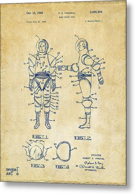 1968 Hard Space Suit Patent Artwork - Vintage Metal Print by Nikki Marie Smith