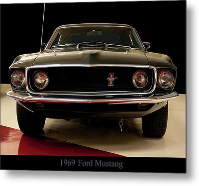 Metal Print featuring the digital art 1969 Ford Mustang by Chris Flees