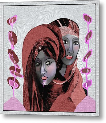 Metal Print featuring the digital art 1971- Rosecoloured Portrait 2017 by Irmgard Schoendorf Welch