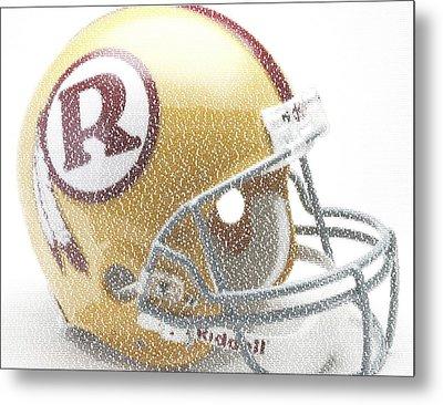 1971 Redskins Helmet Greatest Players Mosaic Metal Print by Paul Van Scott