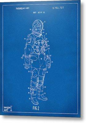 1973 Astronaut Space Suit Patent Artwork - Blueprint Metal Print by Nikki Marie Smith