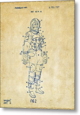1973 Astronaut Space Suit Patent Artwork - Vintage Metal Print by Nikki Marie Smith