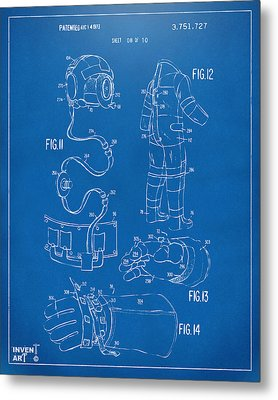 1973 Space Suit Elements Patent Artwork - Blueprint Metal Print by Nikki Marie Smith
