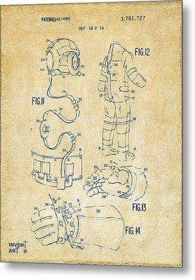1973 Space Suit Elements Patent Artwork - Vintage Metal Print by Nikki Marie Smith