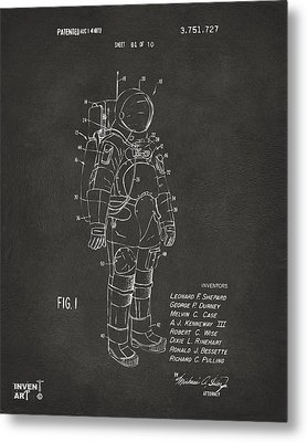 1973 Space Suit Patent Inventors Artwork - Gray Metal Print