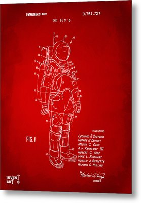 1973 Space Suit Patent Inventors Artwork - Red Metal Print by Nikki Marie Smith