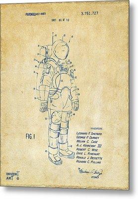 1973 Space Suit Patent Inventors Artwork - Vintage Metal Print by Nikki Marie Smith