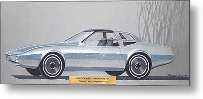 1974 Duster  Plymouth Vintage Styling Design Concept Sketch  Metal Print by John Samsen