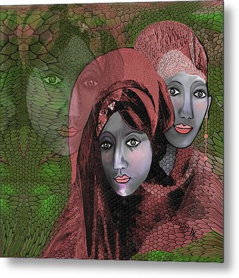 Metal Print featuring the digital art 1974 - Women In Rosecoloured Clothes - 2017 by Irmgard Schoendorf Welch