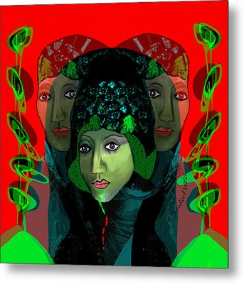 Metal Print featuring the digital art 1975 - Mystery Woman by Irmgard Schoendorf Welch